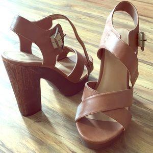 Beautiful tan/light brown heeled platform sandals